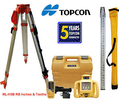 Topcon Rl-h5b Rechargeable Rotating Laser Level Tripod Rod Inches Tenths