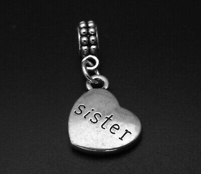 Sister Charm for Brand Bracelets and Necklaces Family Pendant Silver Best (Best Sister Charms For Pandora Bracelets)