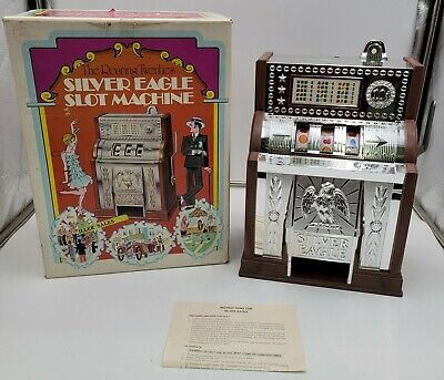 Vintage 1977 Silver Eagle Slot Machine Tested And Works In original box.