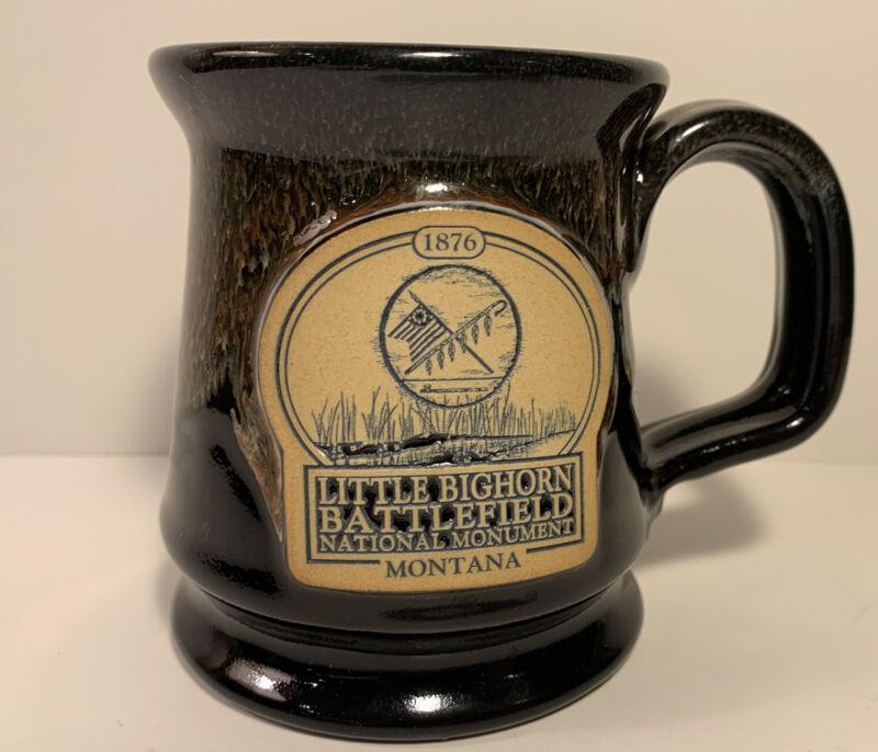 """Deneen Pottery Brown Coffee Mug Little Bighorn Battlefield Montana 4"""" Tall"""