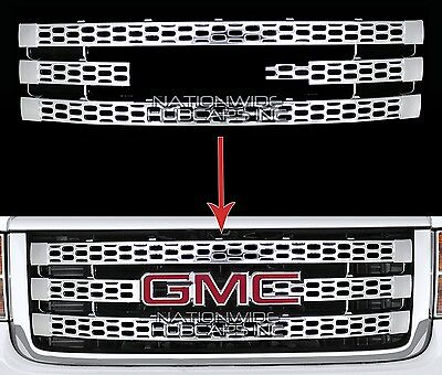 for 11-14 GMC Sierra 2500 3500 CHROME Snap On Grille Overlay Grill Cover Inserts
