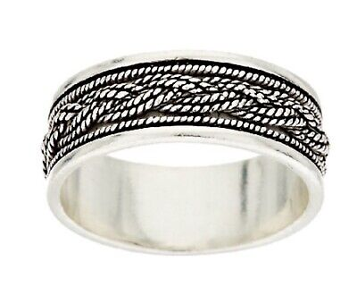 - NEW Artisan Crafted Unisex Sterling Silver Textured Braided Band Ring-Size 8