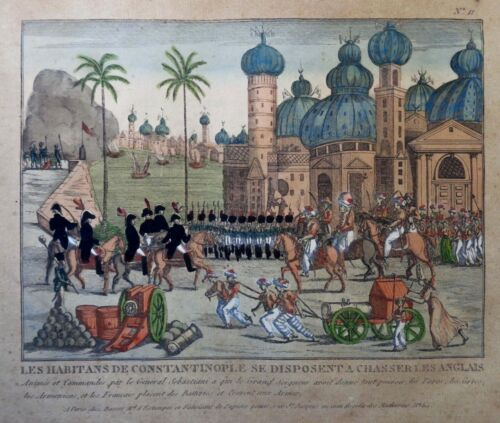 ANTIQUE 18TH C FRENCH HAND COLORED WOODBLOCK OF CONSTANTINOPLE PRINTED IN PARIS