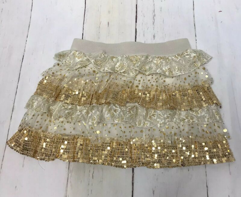 So Girls Youth Skirt Holiday Tiered Ivory Gold Sequins Lace Polka Dot M 10-12