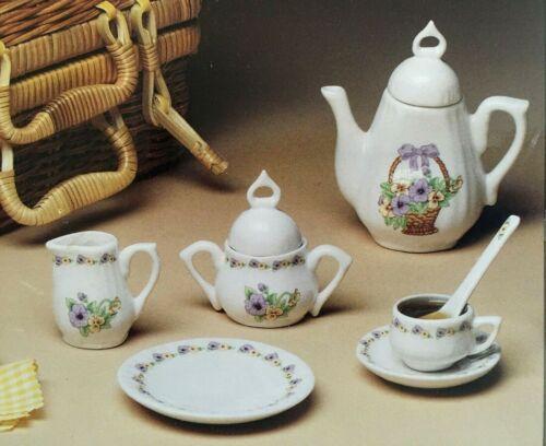Vintage Mini Tea Set with Basket 16 Piece set Noble Excellence / Dillard