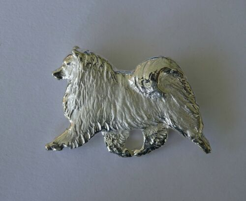 Large Sterling Silver Keeshond Moving Study Brooch