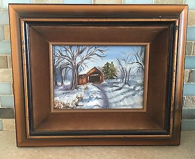Original Oil Painting On Canvas Of Covered Bridge In Snow Covered Woods 12 x 10