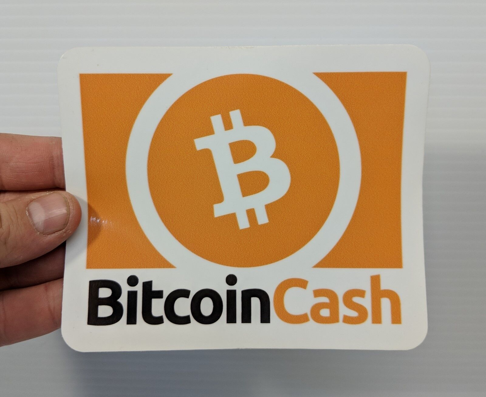 Bitcoin Cash High Quality Sticker for Laptops, Cars, Point of Purchase - Orange