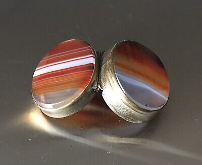 Banded Agate & Brass Hinged Snuff Box Pill Ring Case