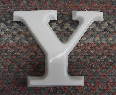 Vtg  White Plastic Hanging Letter Y Store Sign Spell Out Alphabet 8 3 4  Capital
