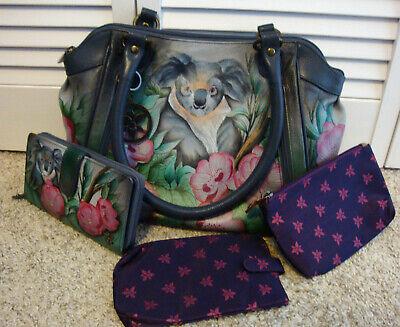 NEW Anuschka Koala Bear Hand-Painted Leather Medium Handbag & Matching Wallet +