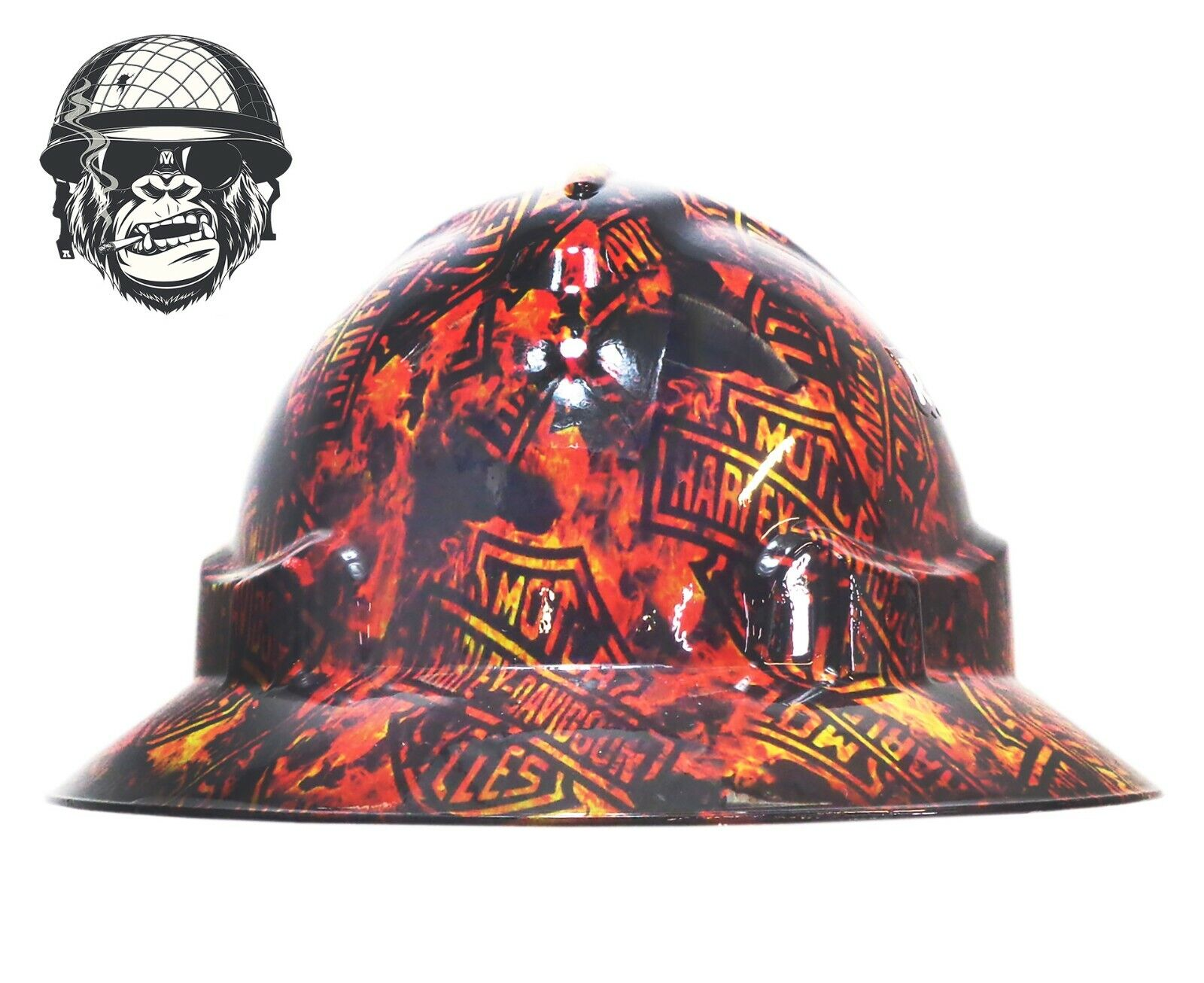 Custom Hydrographic Wide Brim Safety Hard Hats flame HARLEY DAVIDSON WIDE