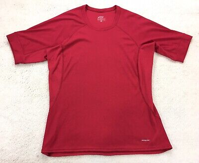 Patagonia Womens T Shirt Performance Base Layer Red Short Sleeve Tee Size -