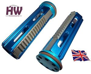 AIRSOFT AEG METAL PISTON & HEAD FULL STEEL TEETH  HIGH TORQUE ALUMINIUM BLUE