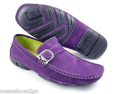 MENS SHOES PURPLE MOCCASINS LOAFER SYNTH LEATHER LOW SHIPPING USA PRIORITY $6.99