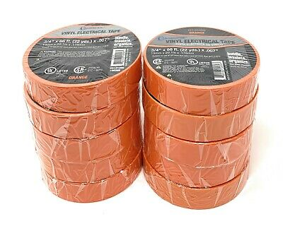 10 Pc Orange Electrical Tape  34 X 66 Ft Ea Roll  Ul