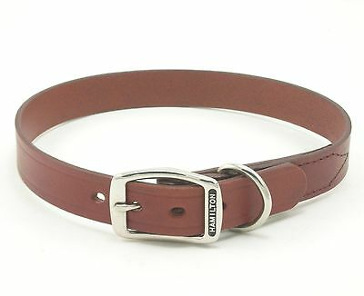 "HAMILTON Creased Leather Dog Collar, 20"" x 3/4"", Brown"