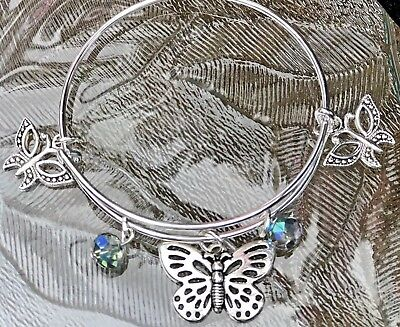 3 Beautiful Butterfly Charms & Rainbow Beads Silver Expandable Bangle -