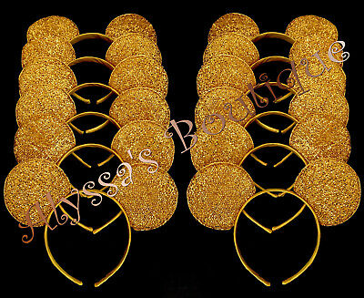 Minnie Mickey Mouse Ears Headbands 24 pc Shiny GOLD Birthday Party Costume DIY](Diy Mickey Mouse Party)