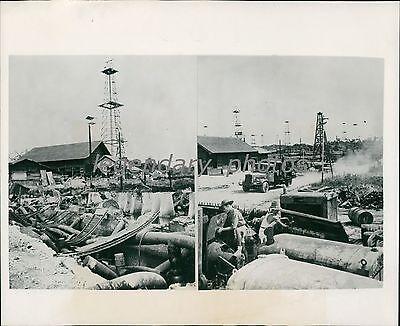 1945 World War Ii Tarakan Oil Field Taken By Allies Original News Service Photo