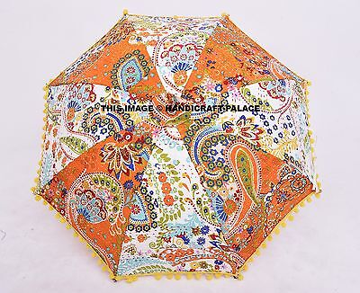 Indian Kantha Quilted Pom Lace Wedding Grand Decorative Sun Parasol (Parasol Deluxe Lace)