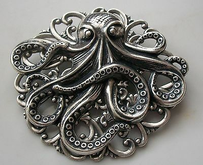 New OCTOPUS BROOCH Renaissance Pirate Halloween Costume Hat Pin STERLING SILVER - Octopus Halloween Costume