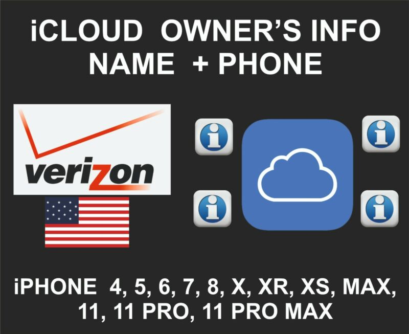 iCloud Owner info, Name and Number, iPhone All Models, By IMEI, Verizon USA