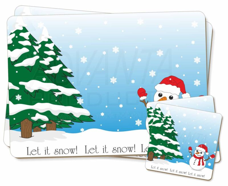 Snow+Man+Twin+2x+Placemats%2B2x+Coasters+Set+in+Gift+Box%2C+Snow-1PC