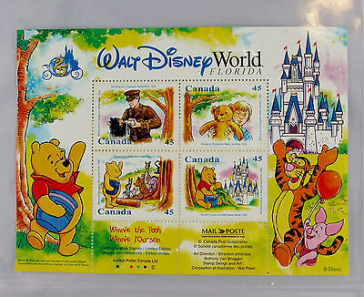 Walt Disney World 25th Anniversary Canada Stamp sheet Winnie the Pooh + COA