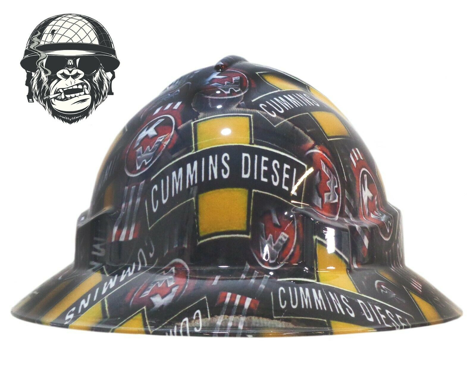 Custom Hydrographic Safety Hard Hat Industrial Mining - CUMMINS KENWORTH WIDE