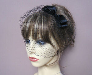 black french net birdcage veil fascinator 40s 50s vintage style wedding funerals