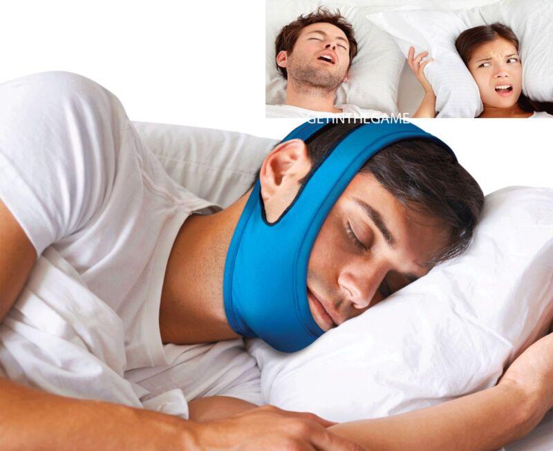 Snore Stop Belt Anti Snoring Cpap Chin Strap Sleep Apnea Jaw Solution TMJ BLUE