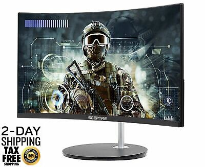 "Curved Gaming Monitor PC Computer LED  24"" Screen Desktop HDMI DVI VGA LED 75HZ"