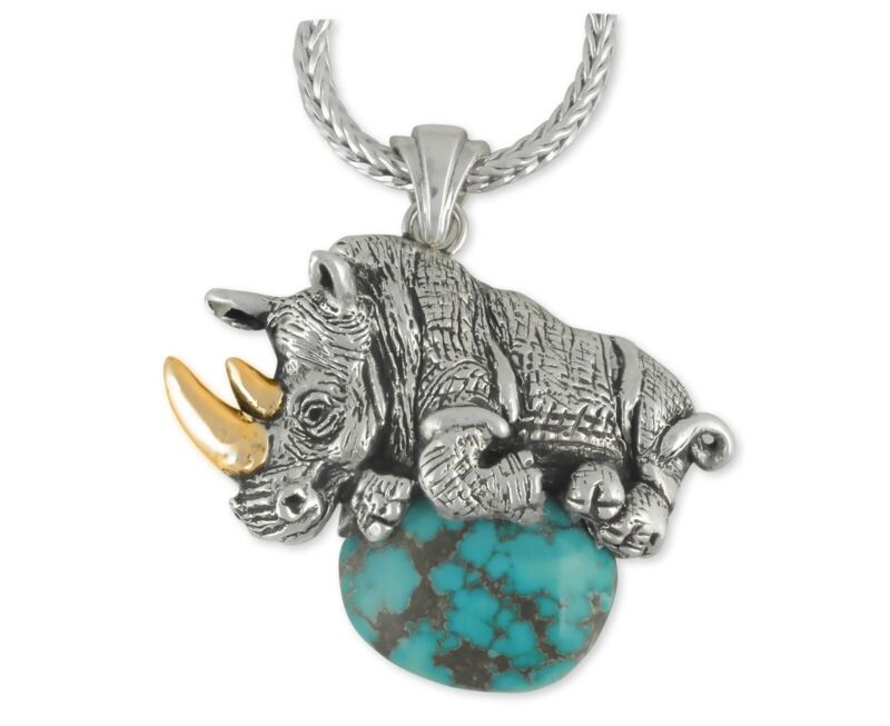 Rhinoceros Pendant Jewelry Sterling Silver Rhinoceros Wildlife Pendant RO2-CHZP