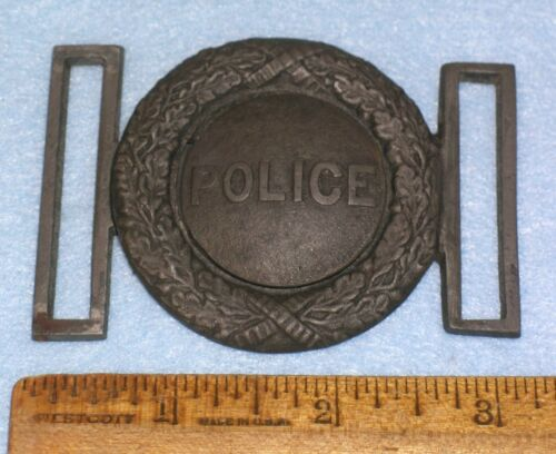 Antique 19thC 2-Piece POLICE BELT BUCKLE FOUNDRY PATTERN  * MC LILLEY