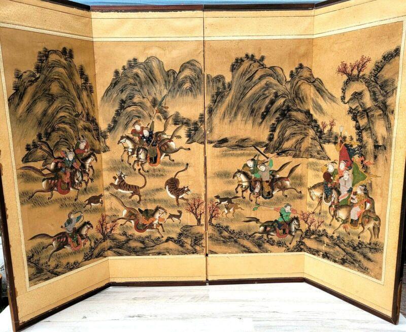 Japanese VTG Chinese 4 Panel Folding Screen Byobu Painted 54x36 Warriors Hunting
