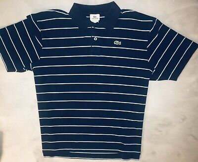 Mens LACOSTE Sport Dark Blue Striped Short Sleeve Alligator Polo Shirt Size L