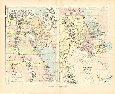 1887 ANTIQUE MAP- 2 MAPS-EGYPT AND NUBIA
