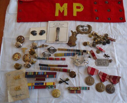 DEALER LOT : WW2 to Vietnam Pins Collar Disc Medals Ribbon bars AAF USMC ARMY
