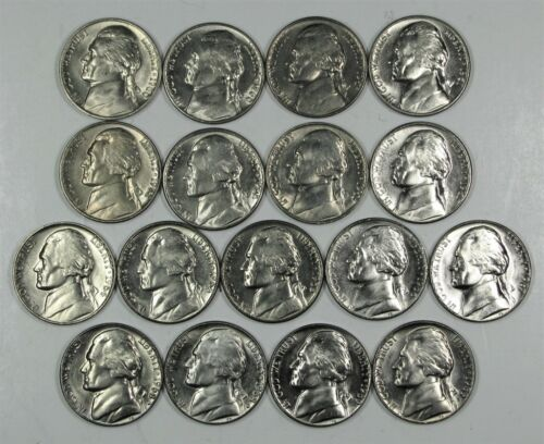 1953 to 1969 UNCIRCULATED JEFFERSON NICKEL RUN 33 COINS P, D, and S MINT MARKS
