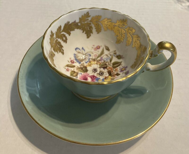 Aynsley Fine English Bone China Blue Floral Cup and Saucer 2960