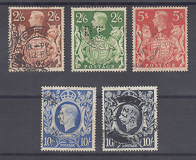 Great Britain Sc 249-251A used 1939-1942 KGVI high values cplt set