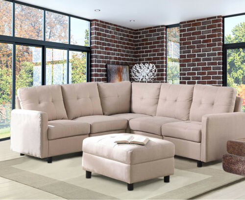 7-Piece Modular Sectional Sofa Modern Living Room Linen Couch With Back Cushion  7