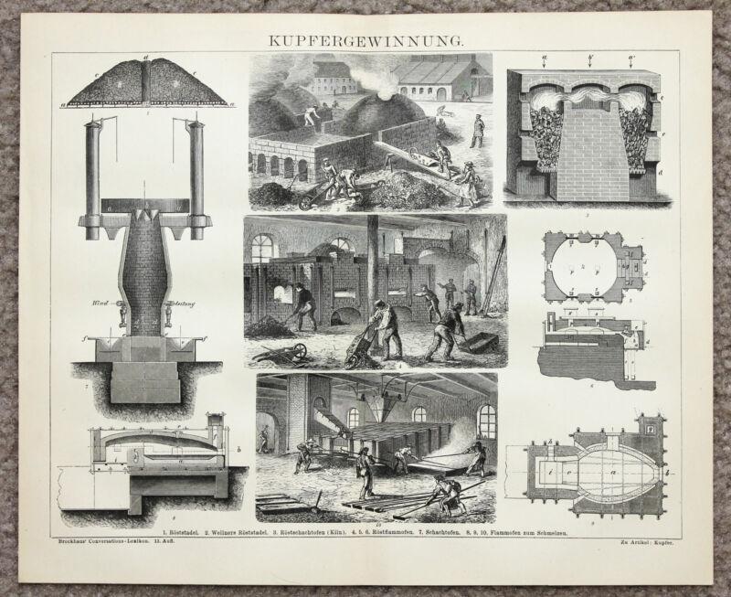 1885 Copper Recovery Engraving Original German Brockhaus Kupfergewinnung