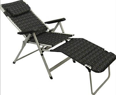 Deluxe Folding Padded Chair & Foot Stool - Garden Travel Relax Leisure Set