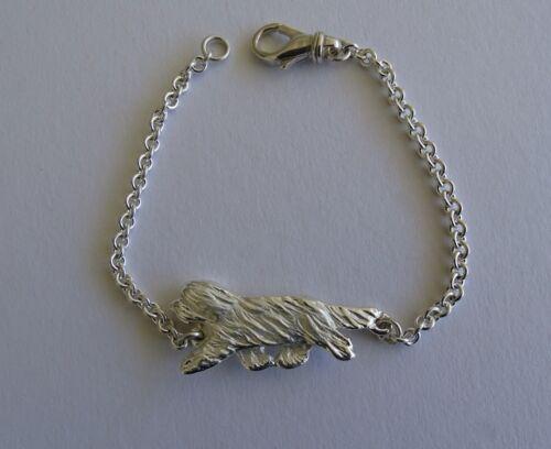 Large Sterling Silver Bearded Collie Moving Study Bracelet