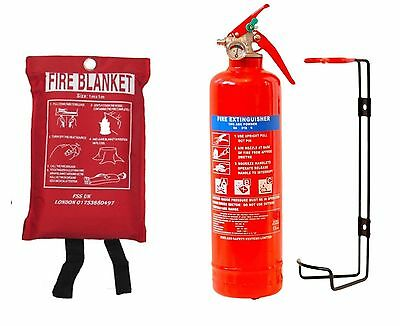 1KG DRY POWDER ABC FIRE EXTINGUISHER + FIRE BLANKET HOME OFFICE CAR