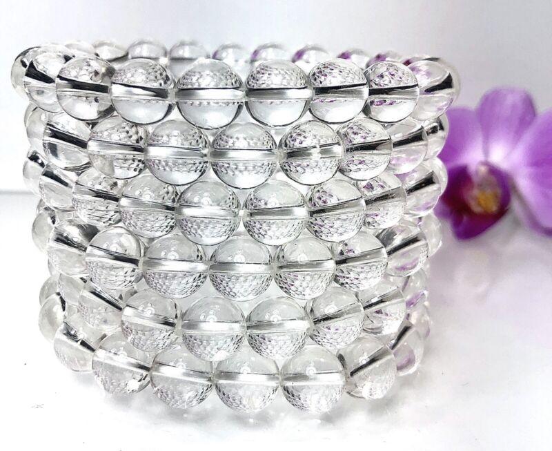"""Wholesale 6 Pcs Natural Clear Quartz 10mm 8"""" Crystal Healing Stretch Bracelet"""