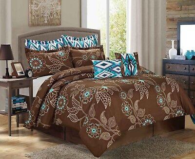 8pc Queen Comforter Bed - 8PC Printed Comforter Set Fashionable Design Fade Resistant Queen King CalKing