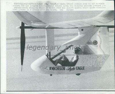 1987 Tremml to Set Record for Longest Human-Powered Flight Original Wirephoto
